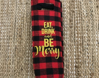 Wine gift bag, eat, drink and be merry, wine gift, wine bottle bag