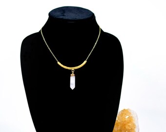 24k gold plated curved bar with clear quartz necklace