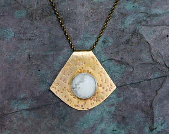 Howlite and Brass Pendant