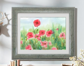 Red poppy print of watercolour painting, flower art illustration, poppies field painting, home decor art print