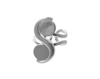 Silver Plated Adjustable Ring with 2, 10mm Cups