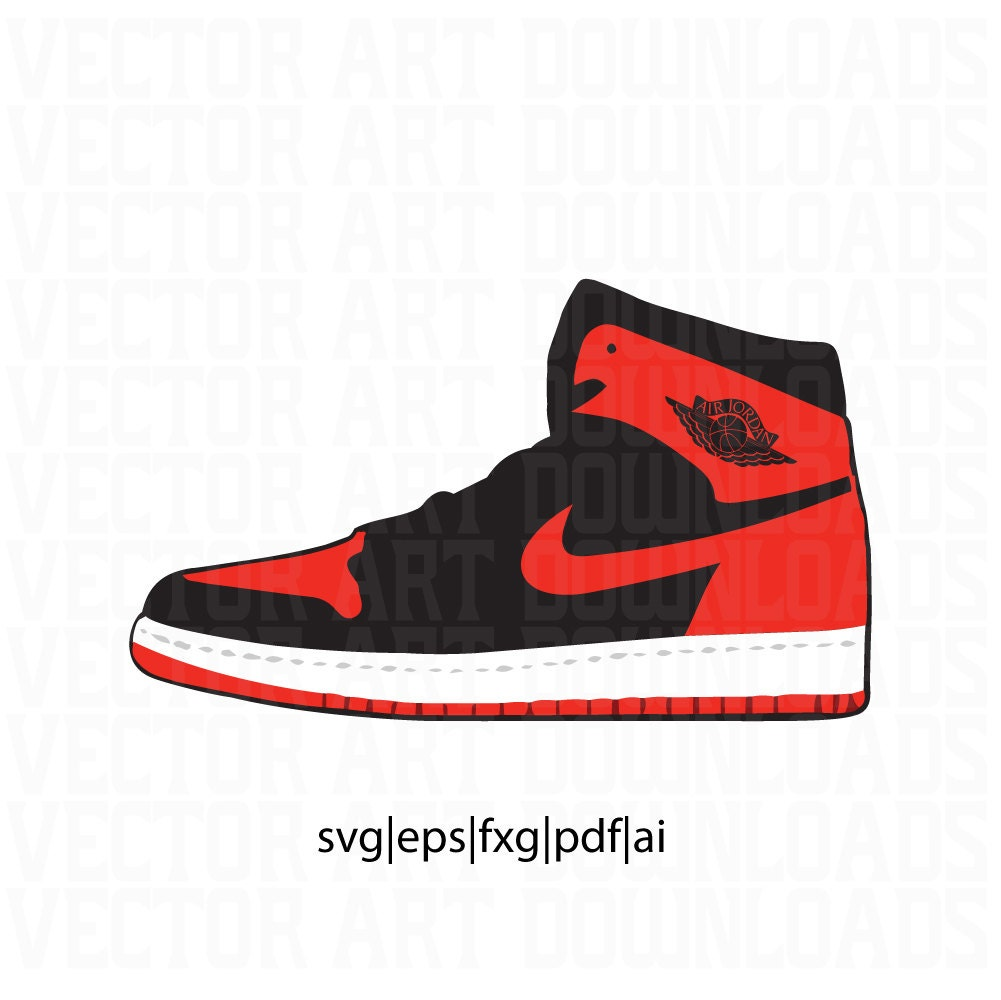 Air Jordan 1 High Og Bred Vector Art, Svg, Dxf, Pdf, Eps
