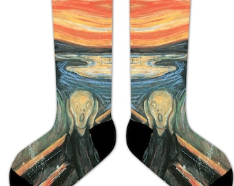 s15 - Edvard MUNCH - The SCREAM - Famous ART - 11' Crew or Ankle Socks
