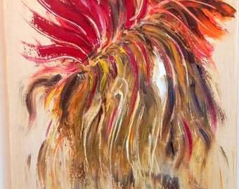 Abstract oil painting- oil on canvas painting of an abstract flower in reds and yellows