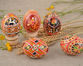 Set of 5 beautiful painted eggs, easter painted egg, easter eggs, easter egg, Ukrainian Pysanka, Eggs