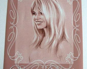Poster Reproduction portrait of Brigitte Bardot 30 x 40 cm