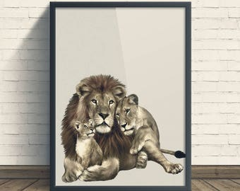 Lion Print, Safari Nursery Animal Print, Lion Family, African Animal Printable, Lion Digital Print, Jungle Animal, Wall Art, Baby Nursery