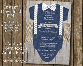 Boy Baby Shower Invitation Instant Download Bow Tie Suspenders Rustic Burlap Wood Chevron Navy Gray Little Man Printable Editable PDF