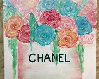 Original Chanel Floral Painting, Fashion art, Fashion painting, fashion decor, floral decor, flower painting