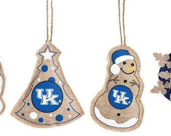 Vintage Burlap University of Kentucky Christmas Ornaments~Set of 4