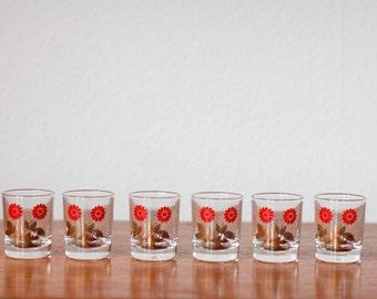 Set of 6 vintage shot glasses with floral pattern Reims France