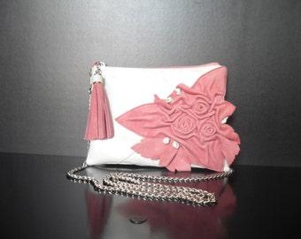Women Genuine Leather Handbag -mod.23 rose