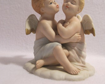 Vintage Home Interiors ~ Kissing Angels ~ HOMCO # 8838