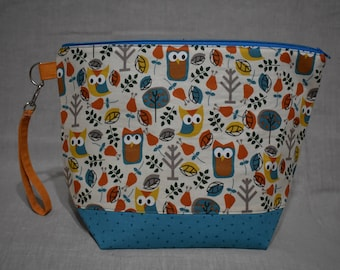 Woodland Owl Project Bag, Medium Bag for Knitting or Crochet
