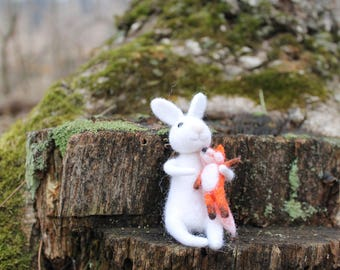 Free shiping. NEEDLE FELTED WHITE rabbit with a chanterelle toy .