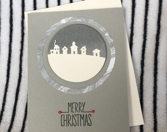 Handmade Paper Marry Christmas Card - Made to order