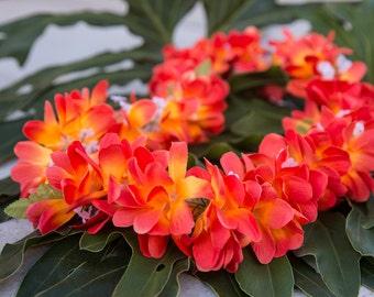 Deluxe SILK FLOWER LEI - Bright Orange Plumerias