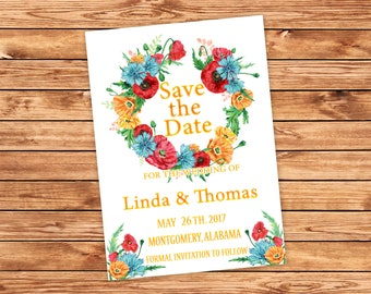 Floral Save the Date Card Printable Floral Save the Date Rustic Save the Date Floral Card Wedding Printable Rustic Bohemian Card