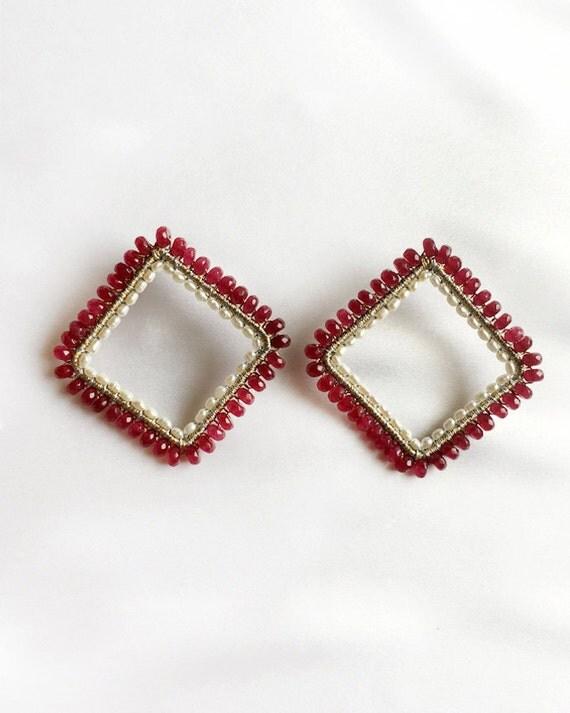 Ruby Pearl Square Earrings