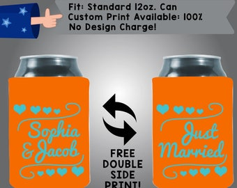 Names Just Married Collapsible Neoprene Can Cooler Double Side Print (W220)