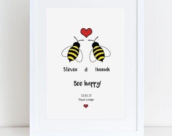 Bee Happy- Personalised Wedding / Engagement / Announcement Print
