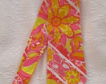 1960s Key West Fabrics hand printed necktie