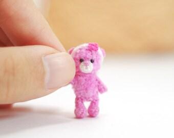 Miniature crochet bear, tiny pink bear, Amigurumi tiny Animals, Dolls House Toys