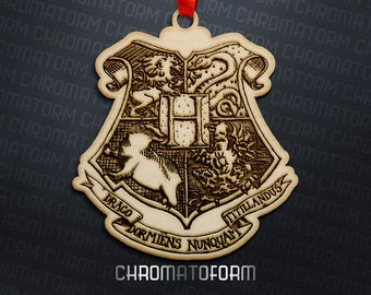 Harry Potter - Hogwarts Coat of Arms Christmas Ornament - Laser engraved