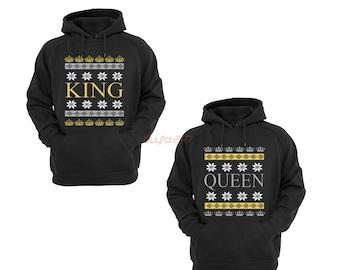 King Queen Christmas Raglan Hoodies Couple Matching Sweatshirts Merry Christmas Ugly Christmas Santa Christmas Sweatshirts