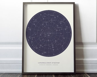 Constellation Map Universe Galaxy print decor printable wall art poster digital download instant printable 16x20