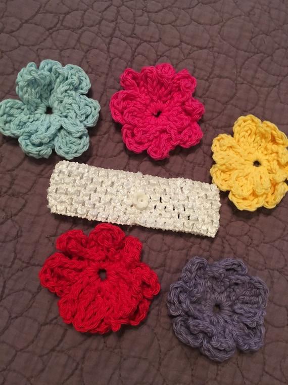 Five Flower Headband/ White