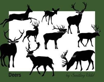 deer svg silhouette, stag svg, deer clipart, forest aniamal clip art, forest animal svg animal vector graphic deer  graphic digital download