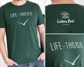 "Organic, fair and soulful MALE t-shirt - ""LIFE"" - bottle green"