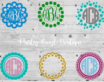 Monogram Decal | Vinyl Monogram Decal | Custom Monogram | Monogram with Frame | Monogram Vinyl Decal  | Vine Monogram | Vinyl Monogram