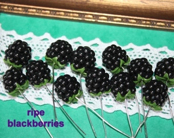 Blackberry, 6pcs. , Juicy blackberry, Clay Blackberry, Ripe and Unripe Blackberry, 100 % handmade of polymer clay, fruit bead.