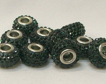 Large Hole Beads in Dark Green, set of 10--#2-3a