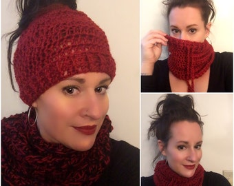 Convertible neck warmer ponytail hat/multiple colors available