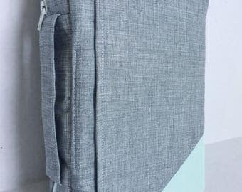 Heather Gray and Mint Bible Cover with Zipper closure