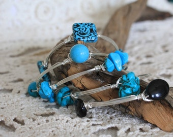Turquoise, Black, and Silver Bangles