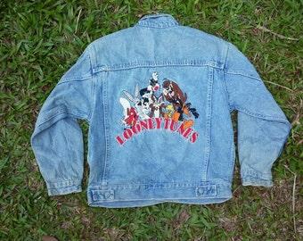 vintage LOONEY TUNES warner bros jeans jacket