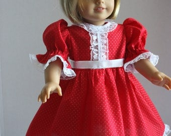 Red pindot fancy dress with lace trim, American Girl party dress, Fits 18 inch American Girl doll