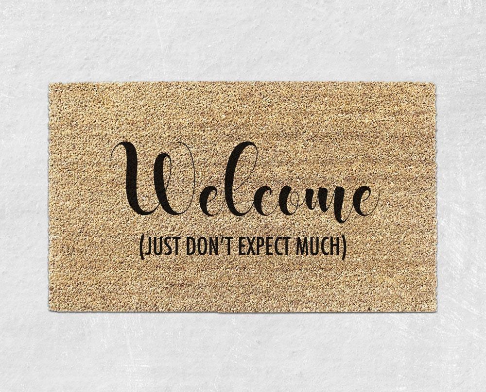 cute doormat funny doormat funny door mat funny welcome. Black Bedroom Furniture Sets. Home Design Ideas