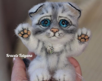 Needle felted kitten, Felted cat, Needle felt animals, wool figurine cat, cute cat, felt toy, felt ornaments, Toy hand made, Soft sculpture