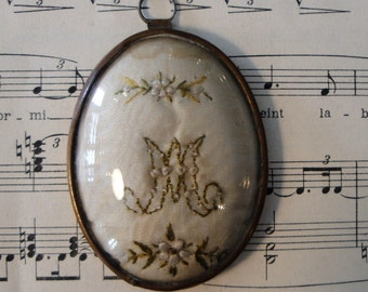 Small Antique French Reliquary Ex Voto Embroidery Virgin Mary Domed Glass c1880