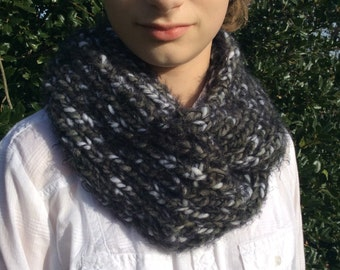 Fuzzy Cowl - so soft!  Gray, Black and White - handknitted