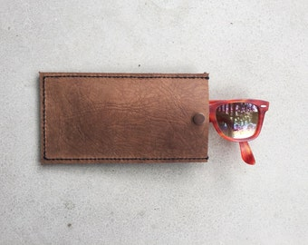 Leather Sunglasses Case - Brown