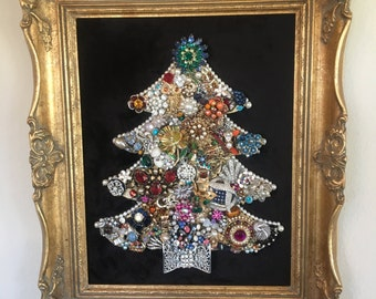 Framed Vintage Jewelry Christmas Tree #12