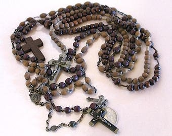 vintage Rosaries wooden Beads French Religious Catholic Religious matching 4