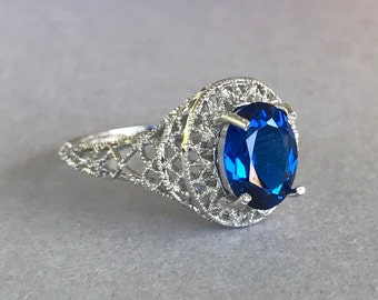 Oval Blue Sapphire Engagement Ring  Filigree Sterling Silver Lab Made Blue Sapphire Stone Engagement Promise Wedding Ring