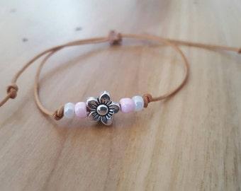 Cutie - leather, Flower - Kid's Bracelet